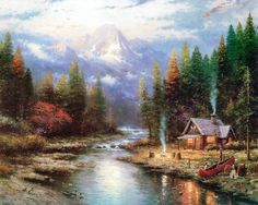 ...  so, we keep gazing at the overly-idealized paintings of Thomas Kinkade, thinking how peaceful it would be to live in one of his cabins by a lake. Description from majorityoftwo.blogspot.co.nz. I searched for this on bing.com/images