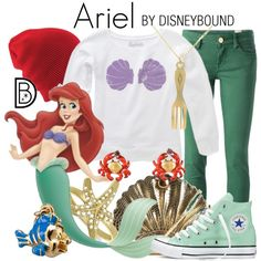 Ariel by leslieakay on Polyvore featuring M Missoni, Converse, Allurez, Les Néréides, Disney, Coal, disney, mermaid, thelittlemermaid and disneybound
