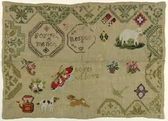 """Most of a border of geometric pattern lozenges, some containing adages: """"Forget me not,"""" """"Token of Love,"""" and """"Respect,""""  worked in brown, green, and beige. The sampler was added to at a later date, with spot motifs in bright colors, some geometric but also including a lamb, dogs, a butterfly, baskets of flowers and a teakettle."""