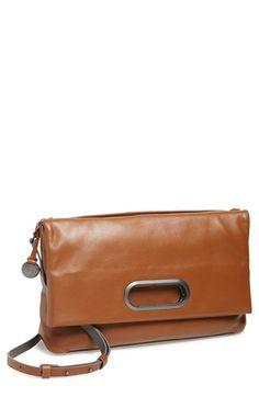Women's Skagen 'Ella' Leather Foldover Crossbody Bag - Brown