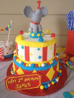 23 best birthday cakes for kids by fannie images on pinterest carnival themed cake for a precious one year old happy birthday james thecheapjerseys Images