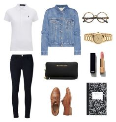 """""""Back to School"""" by gold-pineapples ❤ liked on Polyvore featuring Frame, Gap, Polo Ralph Lauren, Acne Studios, ZeroUV, Michael Kors, Gucci, Chanel and Dot & Bo"""