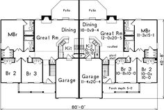 Multi-Family Plan 87347 - Ranch Style Multi-Family Plan with 2318 Sq Ft, 6 Bed, 4 Bath, 2 Car Garage Family House Plans, Best House Plans, Country House Plans, Small House Plans, Family Homes, Duplex Floor Plans, House Floor Plans, Duplex Design, House Design