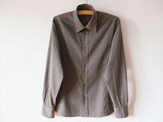 f178c16ccf HUGO Boss Shirt Vintage Striped Shirt Men Button up Shirt Button Down Shirt  Brown Dress Shirt Long S