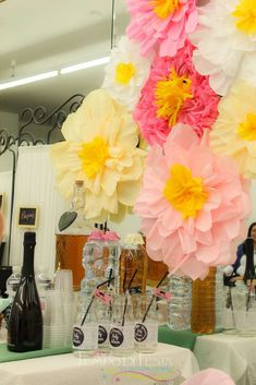 Beautiful paper flower backdrop at a shabby chic baby shower party! See more party planning ideas at CatchMyParty.com!