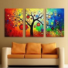 Hand Painted 3 pcs/sets abstract oil painting no frame canvas art tree wall picture decoration home modern canvas oil art Prints $39.98