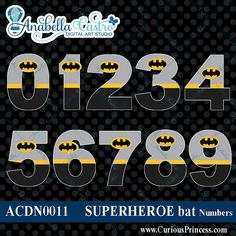 INSTANT DOWNLOAD Batman inspired clipart numbers clip art for scrapbooking or…