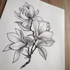 Flower tattoo sketch - I love creative flower drawings because there are so many options here. you can use simple floral sketches as tattoos (which is great!) Flowers are always 'in' . Tattoo Sketches, Tattoo Drawings, Drawing Sketches, Art Drawings, Drawing Ideas, Line Art Design, Flower Tattoo Designs, Flower Tattoos, Pfau Tattoo