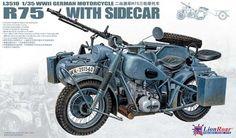 WWII German BMW R75 with Sidecar - Lion Roar LR3510 - Maquette - English
