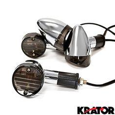 Krator Motorcycle 4 pcs Smoke Bullet Turn Signals Lights For Honda VTX 1300 C R S RETRO