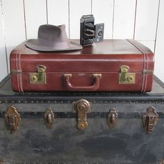 Mid Century Stylite Brown Leatherette Suitcase by leapinglemming on Etsy