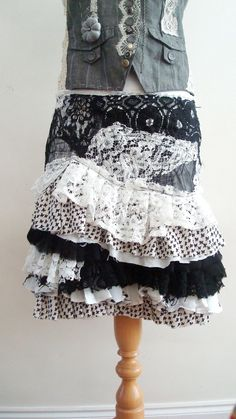Upcycled Skirt Woman's Clothing Black and White por BabaYagaFashion