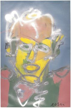 """Skot Foreman Gallery Nick  Vukmanovich """"Portrait VI"""" 1990s Acrylic and spray paint on paper    37 x 25 in  94 x 63 cm Hand-signed """"N Vukmanovich"""" lower right"""