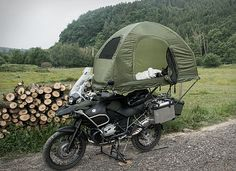 The MoBed Motorcycle Tent 5 Motorcycle Tent, Motorcycle Campers, Motorcycle Adventure, Camping Survival, Camping Gear, Tent Camping Beds, Vstrom 1000, Bike Motor, 1200 Gs Adventure