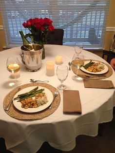 Romantic dinner for him! Seared scallops shrimp and asparagus. Flowers candles and white wine... Perfect date night in! & Christianu0027s proposal dinner for Ana | Fairy Tale Chapter 66 ...