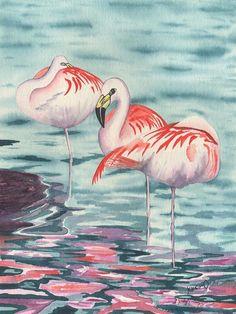 "animal birds ""Flamingo Trio"" signed"