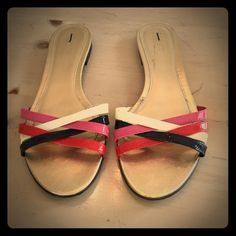 """J. Crew leather slides Criss-crossing patent leather slide sandals from J. Crew, size 8, in excellent condition. Leather upper, gold leather upper, .75"""" block heel. Originally purchased from TJM. J. Crew Shoes Sandals"""