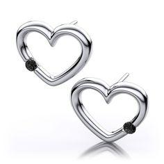 .06ctw Black Diamond Heart Shape Earrings in 14k White Gold I1 I