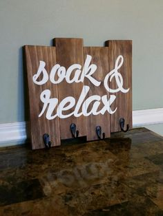 Soak & Relax Towel Rack Soak and Relax Sign Rustic by CSCbyMeg