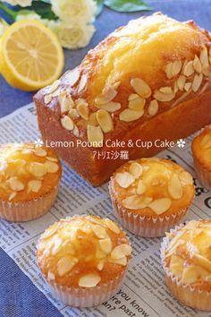 Moist and fresh ✿ fascinating lemon cake Bakery Recipes, Sweets Recipes, Cupcake Recipes, Cooking Recipes, Japanese Bakery, Sweets Cake, Cafe Food, Homemade Cakes, Mini Cakes