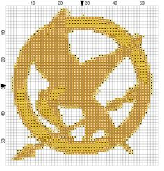Hunger games cross stitch mockingjay