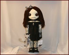 Completely hand sttched rag doll with kitty... creepy gothic folk art by Jodi Cain Tattered Rags