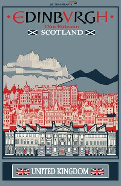 Edinburgh, scotland oh, the places i'll go! Posters Uk, Poster Ads, Railway Posters, Edinburgh Scotland, Scotland Travel, Travel And Tourism, Travel Destinations, Travel Ads, Illustrations Vintage