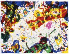 "Sam Francis ""Untitled"" 1986. Lithograph. Although Francis has painted during many important movements, he has eluded formal classification by developing his own lyrical form of abstraction, without concern for fashion or categories.  Francis is known primarily for his colorful drips and spatters on canvas.  Often deceptively simple at first glance, his paintings are carefully panned to balance color with white space and randomness with logic."