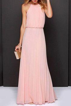 Halter  Back Hole  Plain  Sleeveless Maxi Dresses