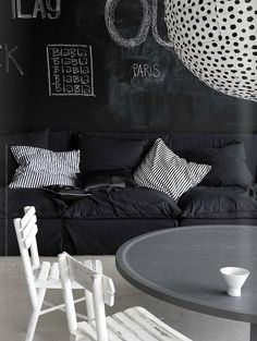 Various Dashing Dark Themed Interior For Living Room Design : Stylish Dark Living Room Designs Blackboard Wall White Wooden Chair Black Sofa Cushion And Strip White Gray Coffee Table