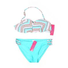 Pre-owned Xhilaration Two Piece Swimsuit Size 8: Blue Women's Swimwear ($15) ❤ liked on Polyvore featuring swimwear, bikinis, blue, 2 piece bikini, 2 piece bathing suits, two piece swimwear, blue bathing suit and two piece swim suits