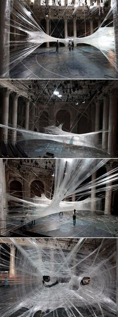 Packing Tape Spiderweb Installation