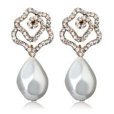 [$34.00] Sister Trendy Diamond Crystal Rose Pattern Pearl Stud Earrings - Free Shipping