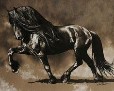 Beautiful art of Fresian horse