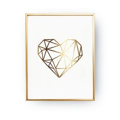 plakaty-Plakat Geometryczne Serce, Złoty Druk