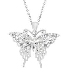 Allurez Butterfly Shaped Pendant Necklace 14K White Gold ($190) ❤ liked on Polyvore
