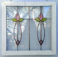Beautiful Handmade Stained Glass Windows Pink Flowers by PetersInc