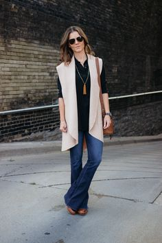 Fall Look: Anthropologie Long Wool Vest, Flare Jeans, Bucket Bag, Clogs, Lucid & Blue