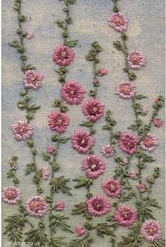Wonderful Ribbon Embroidery Flowers by Hand Ideas. Enchanting Ribbon Embroidery Flowers by Hand Ideas. Embroidery Needles, Hand Embroidery Stitches, Silk Ribbon Embroidery, Crewel Embroidery, Vintage Embroidery, Embroidery Techniques, Cross Stitch Embroidery, Machine Embroidery, Flower Embroidery