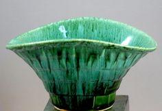 Vintage California Ware Pottery Green Drip Glaze Basket Weave Planter