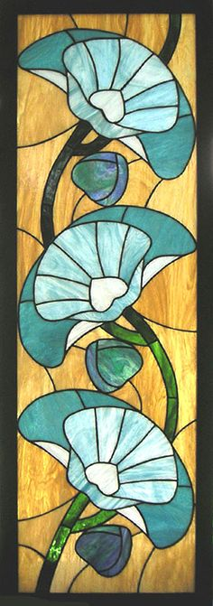 Art Deco Poppies Stained Glass Window Panel par StainedGlassArtist