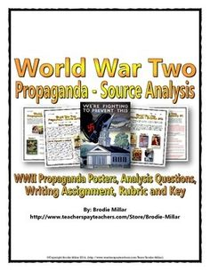 World War Two (WWII) resource contains a source analysis package related to American propaganda posters from World War Two (WWII). The resource contains two activities that offers explanations on possibilities for differentiation.