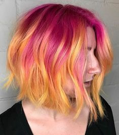 Love this pink and peach hair