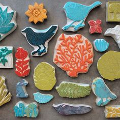 beautiful hand carved rubber stamps by the talented Geninne... inspiring me to get out the lino and carving tools again! :)