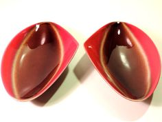 French Vintage Mid Century Ceramic Fat Lava Serving Dishes/Serving Bowls Set of 2