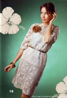 Linen corchet dress with openwork lace motifs, diagrams ONLY! More Patterns Like This!