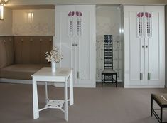 Great table - creme colour for floors - ornamentation on cabinets - Hill house -- Mackintosh CRM