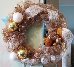 ...at the cottage - Gold & White wreath created by DonElla Nielsen