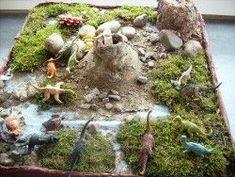 Dinoprojekt projects for preschoolers Dinosaur Diorama, Dinosaur Land, Dinosaur Garden, Dinosaur Birthday, Dinosaur Projects, Dinosaur Activities, Activities For Kids, Diy For Kids, Crafts For Kids
