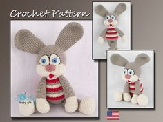 This is a DOWNLOADABLE crochet pattern and NOT the bunny toy.  Pattern is written in English, using US crochet terminology.  This amigurumi bunny